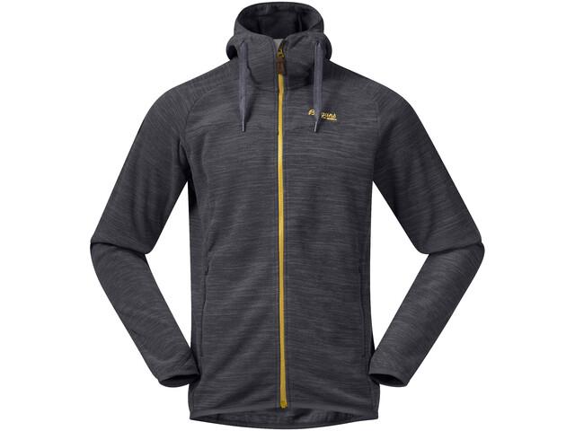 Bergans Hareid Fleece Jacket Herr Solid Charcoal Melange/Waxed Yellow